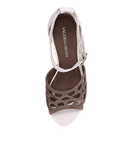 Sandals MAIS WHITE Heels High Shoes TAUPE LEATHER VALERIA Taupe White GROSSI Womens Zwq58vBx
