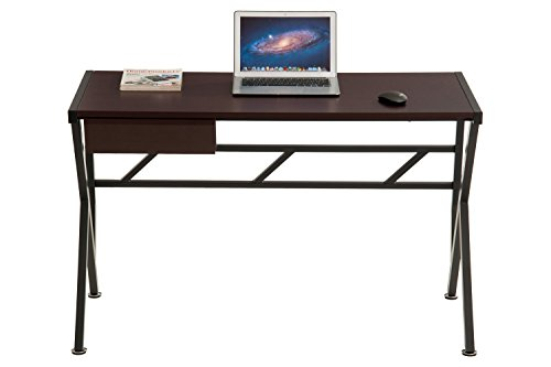 ProHT Compact Office Computer Writing Desk, Small Desk with a Pullout Drawer, Computer Workstation Laptop Desk for Small Place, Durable Frame, CARB Certified (Coffee Brown 05004AAA) by ProHT