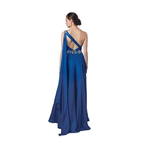 Alyce Paris One Shoulder Chiffon Gown Sapphire – 10