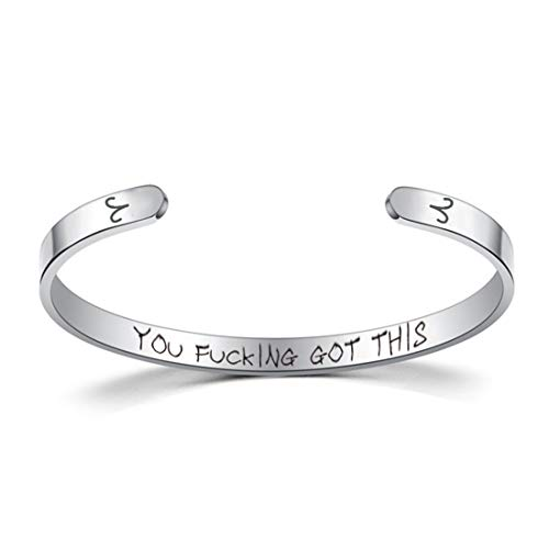 Laramoi Bangle Cuff Bracelets for Women Men Personalized Zodiac Constellation Horoscope Stainless Steel Engraved Come Encouragement Inspirational Gifts for Friends Girls Teens (Silver, Aries)