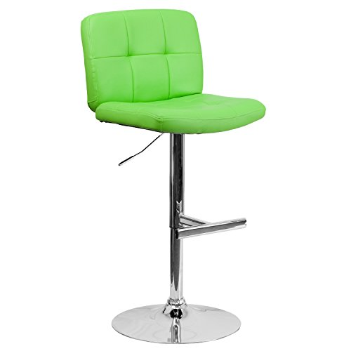 Flash Furniture Contemporary Tufted Green Vinyl Adjustable Height Barstool with Chrome Base (Home Depot Furniture)