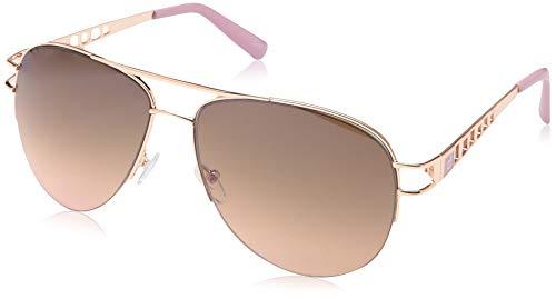 Rocawear Women's R3276 Rgdrs Non-Polarized Iridium Aviator Sunglasses, Gold Rose, 60 mm