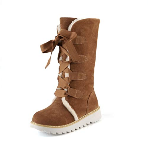 JOYBI Womens Faux Suede Mid Calf Boots Non Slip Winter Warm Ladies Lace Up Round Toe Platform Boot