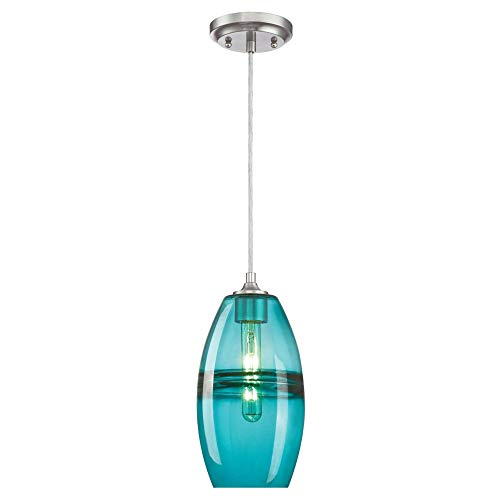 Westinghouse Lighting 6366300 One-Light Indoor Mini Pendant Light, Brushed Nickel Finish with Turquoise Glass (Turquoise Lighting)