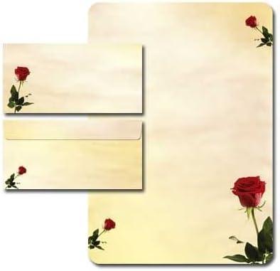 100-tlg Umschl/äge DIN LANG ohne Fenster Motivpapier Komplett-Set BACCARA ROSEN Briefpapier 100g//m/² mit abgerundeten Ecken