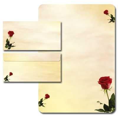20 Pièces bACCARA paper-media papier à lettre à motif de roses 80 g/m ² bords arrondis enveloppes sans fenêtre format dIN long