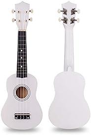 Wooden Ukulele 21 Inch Soprano Hawaiian Guitar Basswood Small Guitar for Kids Beginner (White)