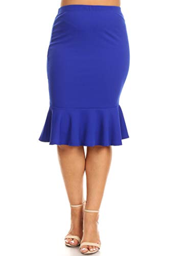 (Plus Size Solid Casual Elastic Waistband Ruffle Work Pencil Skirts/Made in USA Royal Blue 3XL)