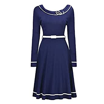 Autumn Dress O-Neck Casual Long Sleeve Dresses With Sashes For Women