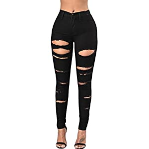 Ermonn Women's High Waist Destroyed Ripped Hole Stretch Denim Skinny Jeans Distressed Trousers