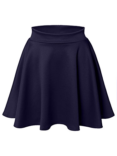 (Luna Flower Women's Basic Versatile Stretchy Flared Skater Skirt Navy Medium)
