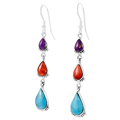 Turquoise Earrings 925 Sterling Silver & Genuine Gemstones (Multi-Gemstones)