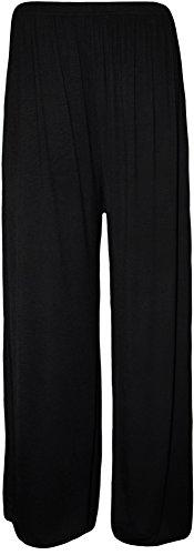 WearAll Plus Size Women's Palazzo Trousers - Black - US 20-22 (UK 24-26)