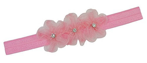 Baby and Toddler Girls Funny Girl Designs Lulu Organza Flower Elastic Headband (0-12 Months, Light Pink)