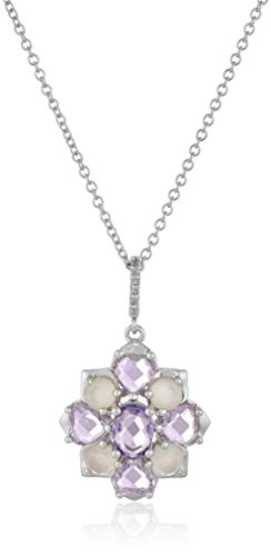 Pearl Diamond Flower Necklace - Sterling Silver Multi-Gemstones and Diamond Accent Cluster Flower Pendant Necklace, 18
