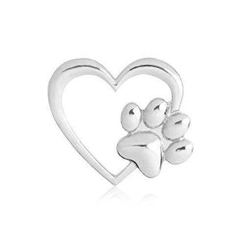 - RUIZHEN Love Heart with Dog Paw Print Sweater Coat Pin Badge Brooch (Silver)