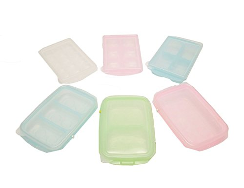 HSI Easily Pop Out 1, 2, 3, 4, 6, 15 Compartments Ice Cube, Baby Food sets, BPA-free PE Tray with Clear Lid in Multi Color, RRE Ice Cube Tray, Set of 6 by HSI