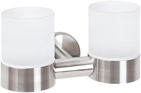 Serie de baño bremermann® PIAZZA - Soporte de vaso doble con vasos, acero inoxidable