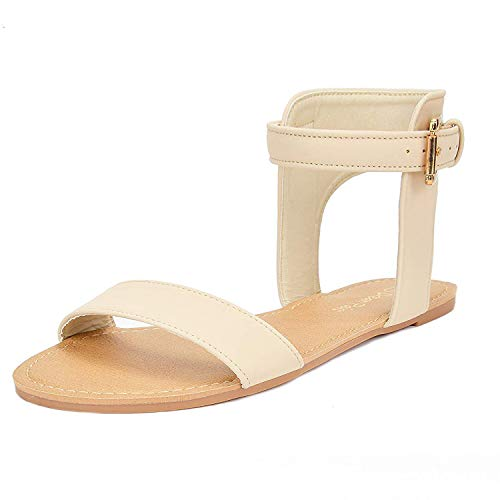 DREAM PAIRS Women's Alexa Natural Cute Open Toes One Band Ankle Strap Buckle Flat Sandals - 6.5 M US
