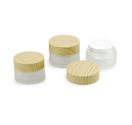 Grand Parfums 20ml LUXURY FROSTED GLASS JARS with Bamboo Lids, for Solid Perfume, Essential Oil Blends, Eye Cream Serum, Anti Aging, DIY, Essential Oil Blends, 6 Count