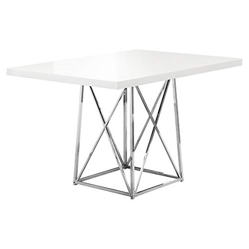 Monarch 36 by 48-Inch Dining Table, White Glossy / Chrome Metal