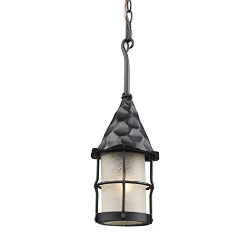 Alumbrada Collection Rustica 1 Light Outdoor Pendant In Matte Black And Scavo Glass