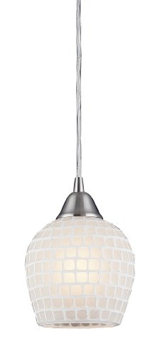 Fusion Pendant Light (Elk 528-1WHT 1-Light Pendant In Satin Nickel and White Mosaic Glass)