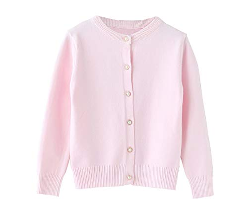 SMILING PINKER Little Girls Crewneck Cardigans Button Knitted Uniform Sweaters Solid Long Sleeves (Pink, 7-8)