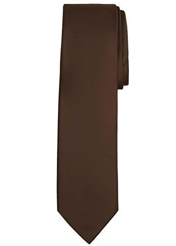 Jacob Alexander Solid Color Men's Regular Tie - Cocoa - Tie Brown Solid