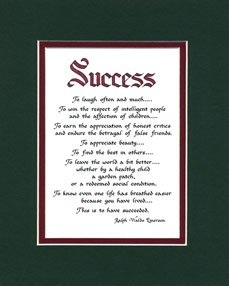 Amazon.com: Success Matted Ralph Waldo Emerson Poem Wall Sign ...