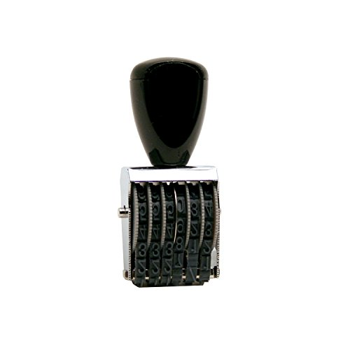 Traditional 6 Digit Rubber Number Stamp, Type Size 2, Black (RN026) ()
