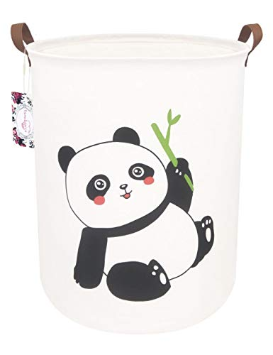 TIBAOLOVER 19.7″ Large Sized Waterproof Foldable Canvas Laundry Hamper Bucket with Handles for Storage Bin,Kids Room,Home Organizer,Nursery Storage,Baby Hamper (Smiling Panda)