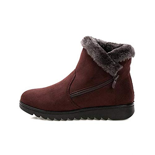Steel Boots Toe Jump (Womens Backpacking Boots Woman Shoes Woman Winter Snow Boots Warm Ankle Boots Platform Rubber Female Boots Winter Snow Footwear Lady Low Heel Shoes Brown 39)
