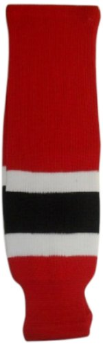 DoGree Hockey New Jersey Knit Hockey Socks, Red/White/Black, Adult/32-Inch