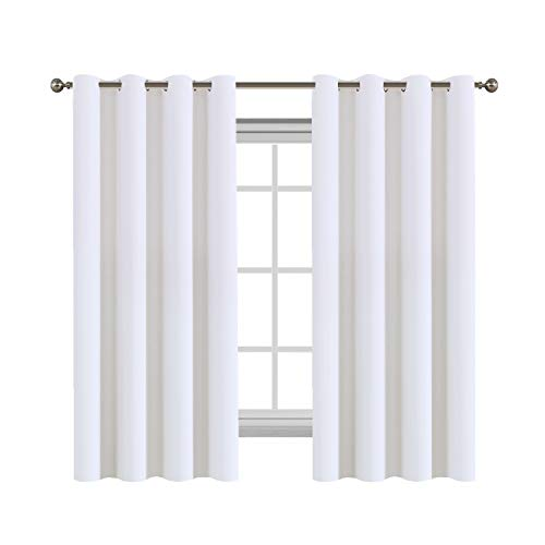 Draperies Curtains Panels Light Reducing Thermal Insulated Solid Grommet Top Window Curtains, Super Soft and Velvety Hand Feeling Living Room Curtains (2 Panels, 52 by 63, Pure White)