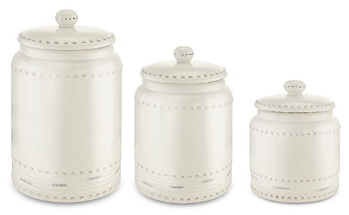 KOVOT 3 Piece Ceramic Canister Set With Air-Sealed Lids & Bonus Decal Labeling Stickers - White With Antique-Style Finish