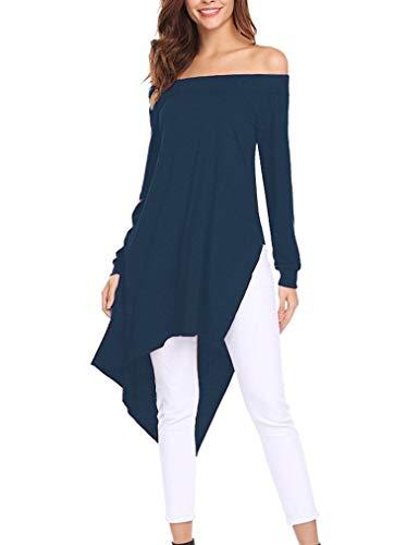 Tunic Asymetrical (Qearal Women's Casual Long Sleeve Hi Low Asymmetrical T Shirt Tunic Tops Navy Blue XL)