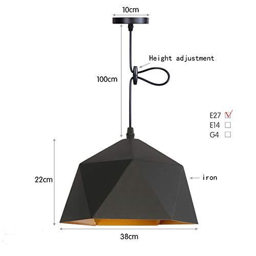 BYJUM Restaurant Light Bar Counter Cafe Bedroom Bedside Chandelier 110-220V,Black,38Cm