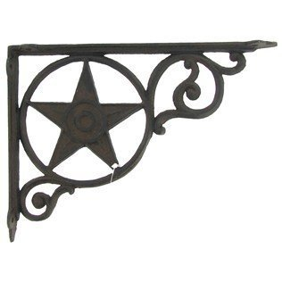 Western Star Shelf Brackets - Aunt Chris Products - Heavy Cast Iron - Star Shelf Bracket - Wall Mount - Indoor or Outdoor Use - Rustic Brown Finish - Old Western Primitive Design