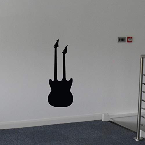 Diuangfoong Guitar Decal Double Necked Wall Vinyl Sticker Family Kids Room Rock Band Music Rock and Roll Music Classical Instrument Music Theme Decor