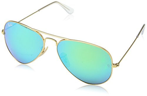 Ray-Ban 3025 Aviator Large Metal Mirrored Non-Polarized Sunglasses, Gold/Green Flash (112/19), - In Ray Italy Ban