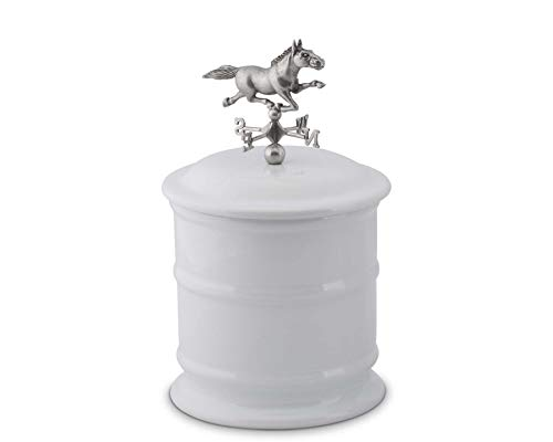 """Vagabond House Short Stoneware Canister with Horse Weathervane Topper 6"""" Wide x 10.25"""""""" Tall"""