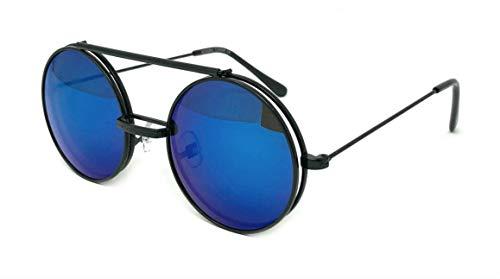 WebDeals - Round Flip Up Steampunk Metal Django Sunglasses… (Black, Blue Revo) ()