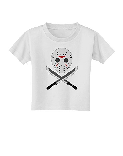 Scary Mask With Machete - Halloween Toddler T-Shirt - White - (Jason Mask For Sale)