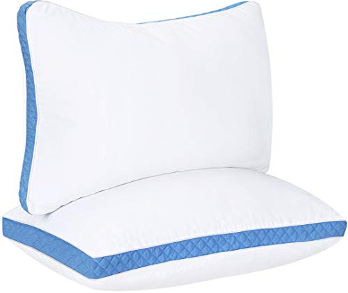 Utopia Bedding Gusseted Quilted Pillow (2-Pack) Premium Quality Bed Pillows - Side Back Sleepers - Blue Gusset - Queen - 18 x 26 Inches