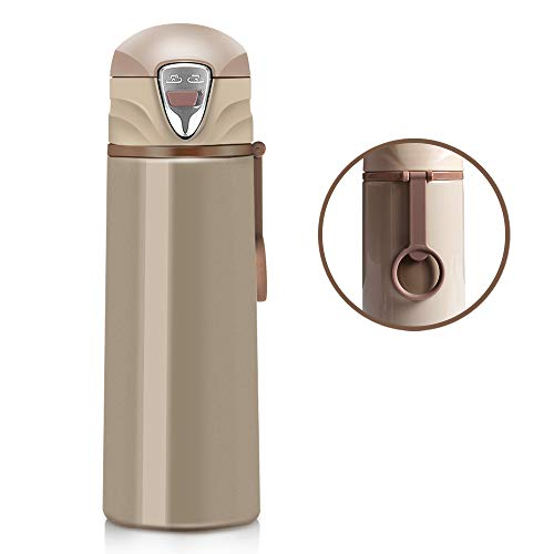 Stainless Steel Travel Coffee Mug, Panamalar Leak-proof Vacuum Insulated Water Bottle with Double Lock Safe Flip Lid for Child Sports Outdoor Use to Keep Cold or Hot, 17 Ounce, BPA free, Apricot