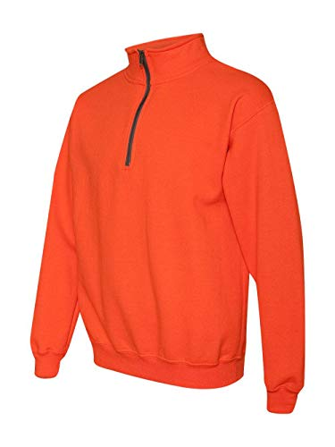 Gildan Mens Heavy Blend 8 oz. Vintage Classic Quarter-Zip Cadet Collar Sweatshirt(G188)-Orange-L