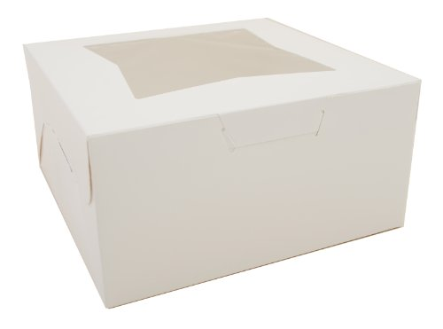 Southern Champion Tray 23053 Paperboard White Lock Corner Window Bakery Box, 10