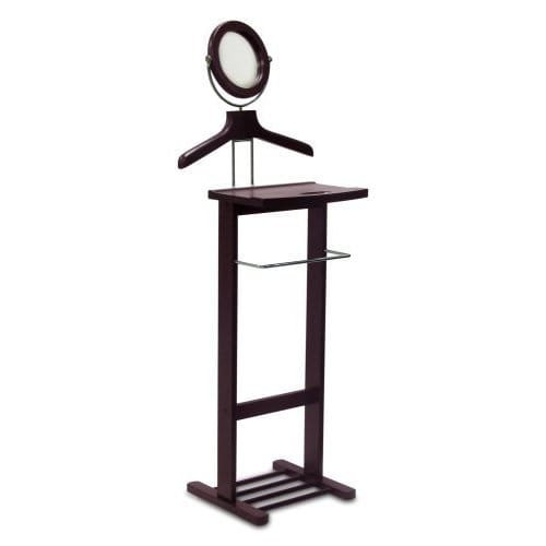 Luxury Home Espresso Open Base Valet Stand with Mirror by Luxury Home