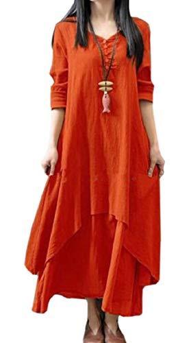 Vintage Neck Orange Two line Loose Layer Sodossny A Women V Long AU Cotton Linen Dress 6EwcxIaq